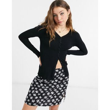 QED London ribbed cardigan in black