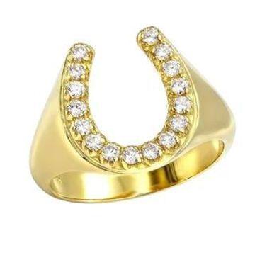 Diamond Horseshoe Ring for Men in 14k Gold 0.5ctw by Luxurman