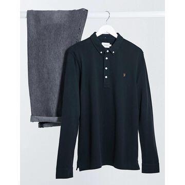 Farah Ricky long sleeve polo in black