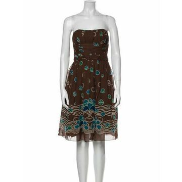 Silk Knee-Length Dress Brown