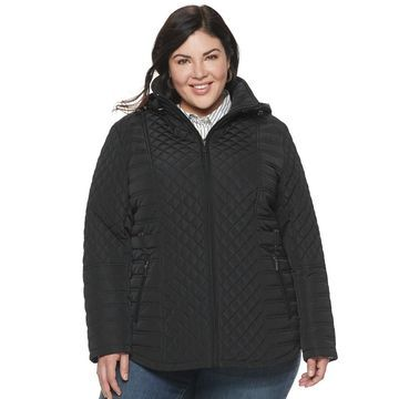 Plus Size Gallery Hooded Quilted Midweight Jacket
