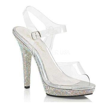 Fabulicious Women's Lip 108DM Ankle Strap Sandal Clear PVC/Silver Multi Rhinestone