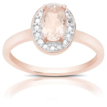 Dolce Giavonna Rose Gold Over Sterling Silver Morganite and Diamond Accent Ring