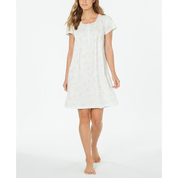 Knit Floral-Print Lace-Trim Nightgown