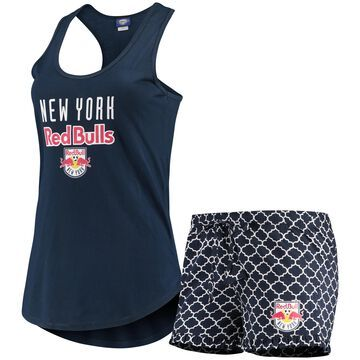 Women's Concepts Sport Navy/White New York Red Bulls Slumber Ruffle Shorts & Tank Top Sleep Set