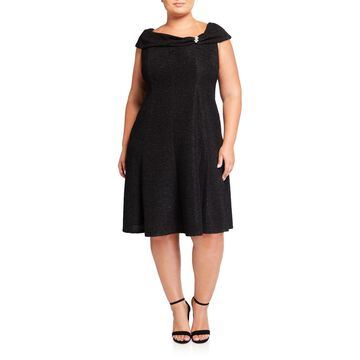 Plus Size Brooch Fold-Over Fit-&-Flare Dress