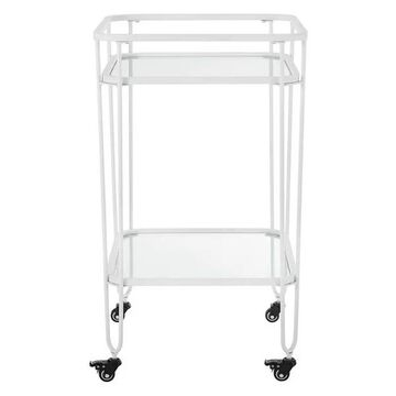 Walker Edison Metal and Glass Serving Cart in White
