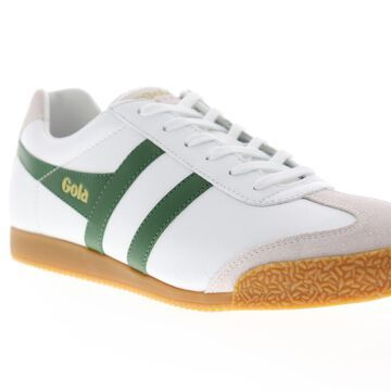 Gola Harrier Leather White Green Mens Low Top Sneakers