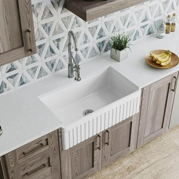 MR Direct 411 Fireclay Single Bowl Farmhouse Kitchen Sink