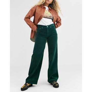Dr Denim Jam wide leg jean in cord-Green