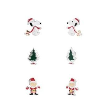Peanuts Fine Silver Plated Enamel Holiday Snoopy Charlie Brown Woodstock Earring Trio