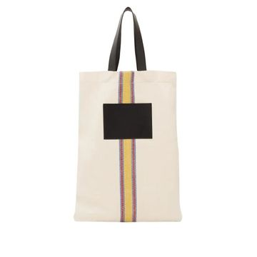 Jil Sander - Striped Linen-canvas And Leather Tote Bag - Womens - White Multi