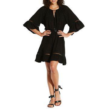 Bell-Sleeve Flounce Coverup Dress