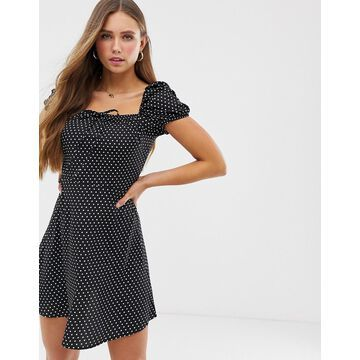 QED London sweetheart mini dress with puff sleeves in polka dot