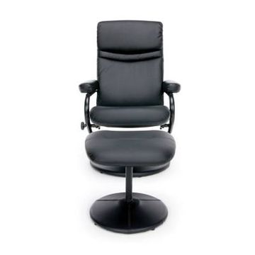 Bonded Leather Recliner and Ottoman Black - OFM