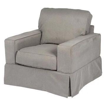 Box Cushion Chair Slipcover Performance Fabric Gray