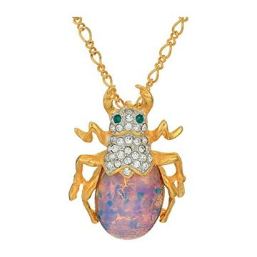 Kenneth Jay Lane 18 Chain with Beetle Pendant Necklace (Pink Opal) Necklace