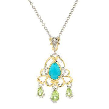 Michael Valitutti Palladium Silver Pear Shaped Kingman Turquoise & Peridot Pendant