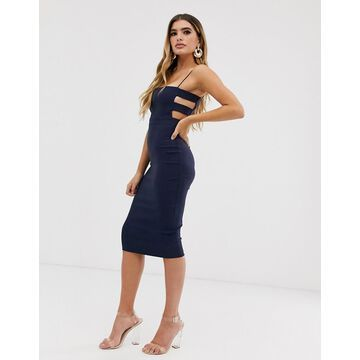 Vesper midi pencil dress with square neck and cut out side in navy