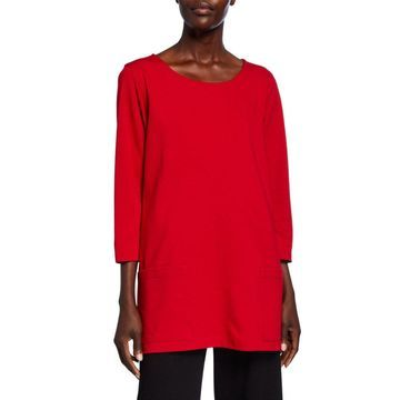 Petite Scoop-Neck 3/4-Sleeve Lux Ponte Pocket Tunic