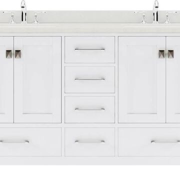 Virtu USA Caroline Avenue 60-in Double Bath Vanity in White with Dazzle White Top and Round Sink | GD-50060-DWQRO-WH-NM