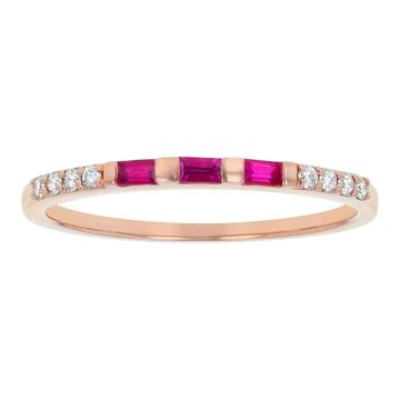 14K Rose Gold 1/5ct. Ruby and Diamonds Anniversary Band Ring by Beverly Hills Charm