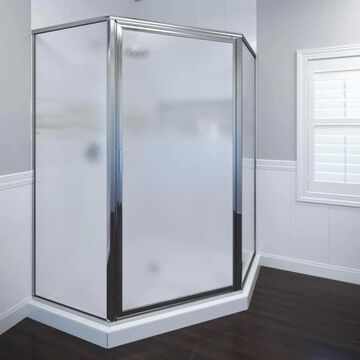 Basco Deluxe 68.625-in H x 23-3/8-in W Framed Hinged Chrome Shower Door (Frosted/Patterned Glass) | 160SWA
