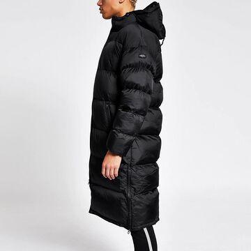 black padded longline hooded coat