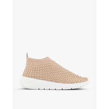 Dune Womens Blush-fabric Embers Crystal-embellished Sock Trainers 6