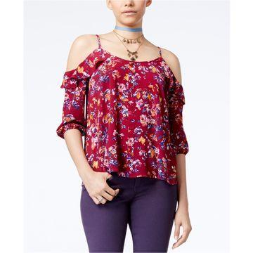 Hippie Rose Womens Cold Shoulder Knit Blouse