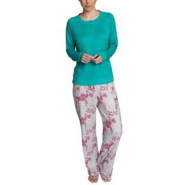 Muk Luks Plus Size Henley Top & Printed Pajama Pants Set
