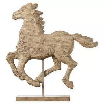 A&B Home Defiance Medium Polyresin Spirited Horse Figurine Natural