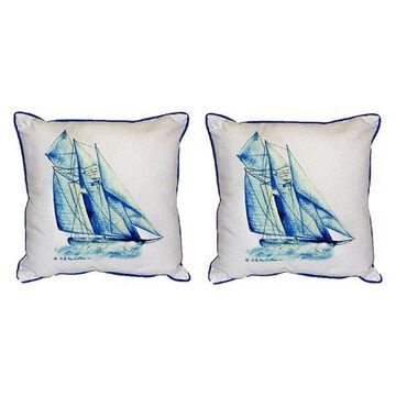 Pair of Betsy Drake Blue Sailboat Large Indoor/Outdoor Pillows
