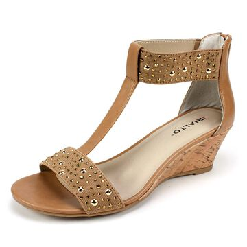 Rialto Womens Cleo Leather Open Toe Casual Platform Sandals