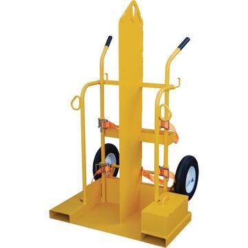 Vestil Welding Cylinder Cart with Fork Pockets - 500-Lb. Capacity, Foam-Filled Wheels, Powder-Coat with Fire Protection, Model CYL-2-FP-FF