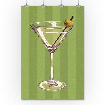 Martini Glass - Letterpress - Lantern Press Poster (36x54 Giclee Gallery Print, Wall Decor Travel Poster)