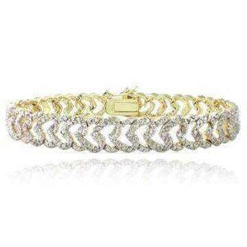 DB Designs Plated 1ct TDW Diamond Heart Link Bracelet (Yellow)