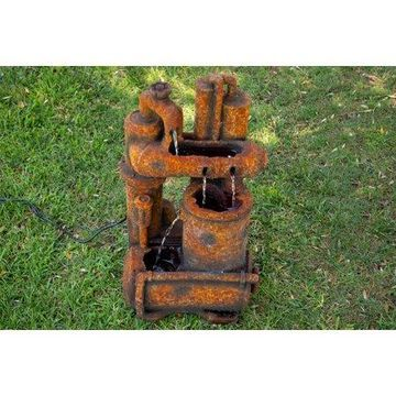 Alpine Rustic Pipes County Floor Fountain, 32 Inch Tall