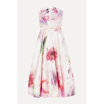 Marchesa Notte - Strapless Floral-print Satin-pique Gown - Blush