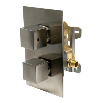 ALFI brand AB2601-BN Brushed Nickel Square Knob 1 Way Thermostatic Shower Mixer