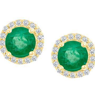 Premier Round Emerald & Diamond Halo Stud Earrings, 14K