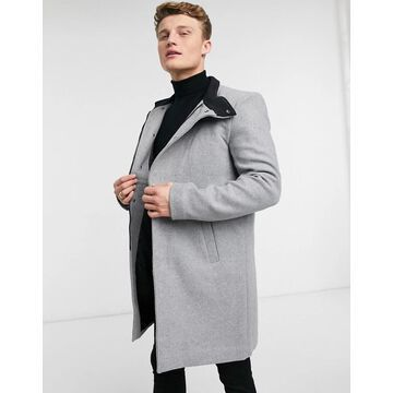 Only & Sons overcoat with funnel neck in gray-Grey