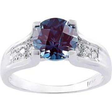 Oravo 14k White Gold 2 1/4ct Created Alexandrite 1/8ct TDW Diamond Cathedral Ring