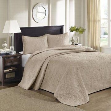 Home Essence Vancouver Solid Reversible Bedspread Set, Khaki, Queen