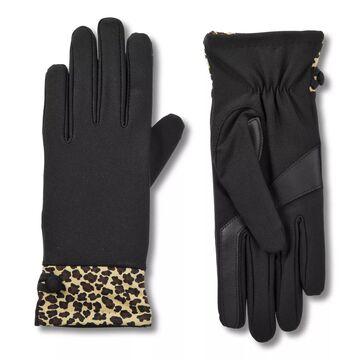 Women's isotoner Lined SmartDRI Spandex Gloves with Leopard Print Cuff