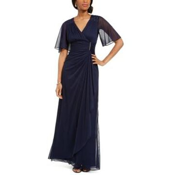 Betsy & Adam Petite Embellished Ruffled Gown