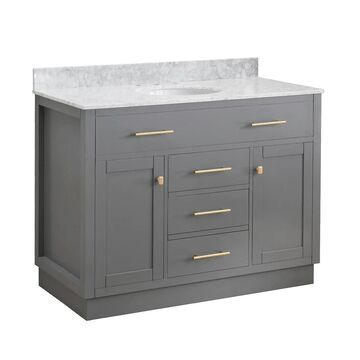 Sunjoy Blue Gray 48 in. Shaker Style Single Sink Bathroom Vanity (47-49 in. - Over 34 Inches - Includes Hardware - Blue/Grey - Polished - Single -