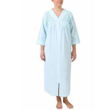 Miss Elaine Seersucker Embroidered Gingham Robe