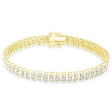 Finesque Sterling Silver 1 1/2ct TDW Diamond Stripe Design Bracelet (Yellow)