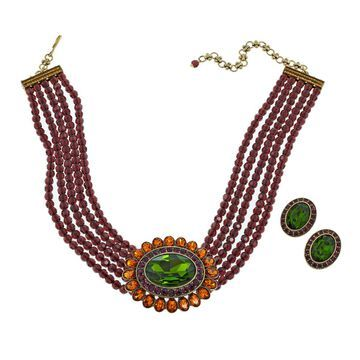 Heidi Daus Dazzling Delight 5-Row Crystal Necklace and Earrings Set